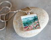 """Original Painting Pendant - """"View from the Castle in the Clouds, New Hampshire"""""""