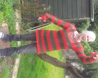 Freddy Krueger Red & Olive Green Stripes Lacy Openwork Mohair Sweater Dress Hand Knitted Made To Order Goth Visual Kei / Kera