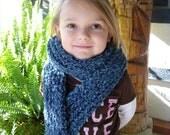 SALE!! Handmade Knit Scarf Blue Extra Long Womens Girls Warm Winter Accessory
