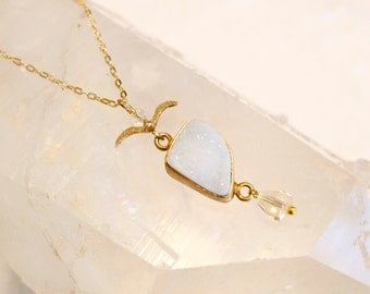 White Druzy-Delicate Raw mineral- With Sparkling Gold Charms- Necklace