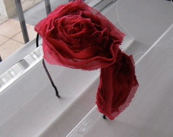 Fuchsia Pink Chiffon Flower Black Satin Headband, for weddings, parties, special occasions