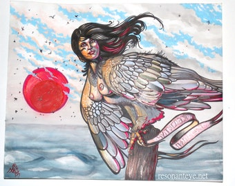 alkonost, harpy, fantasy woman, witch bird: harpy with banner, mature, nsfw