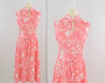 Sale Rosebud Dress - Vintage 1970s Pleated Pink Sleeveless Midi Dress - Small Medium