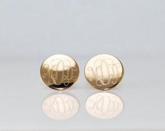 Gold monogram stud earrings • 14k gold filled Monogrammed initials Personalized engraved gifts for her • HYPOALLERGENIC surgical steel posts