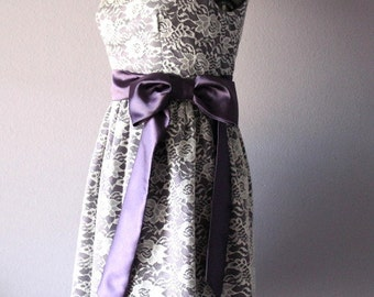 Lace and Satin Dress in Purple and Ivory, bridesmaid, weddding