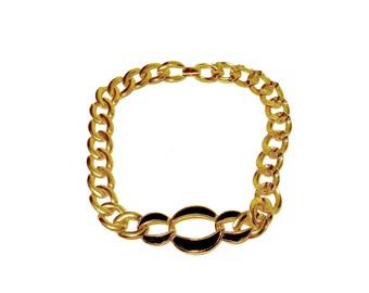 "1980s Napier Necklace, Gold Link Choker, Black Enamel. 15"""