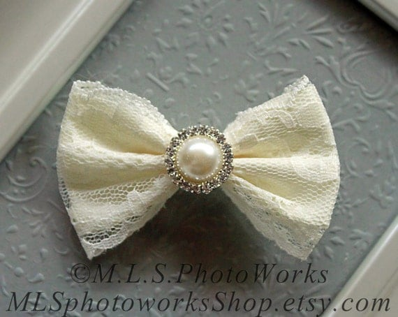 Ivory Lace Pearl Hair Bow Little Girl S Christening Or