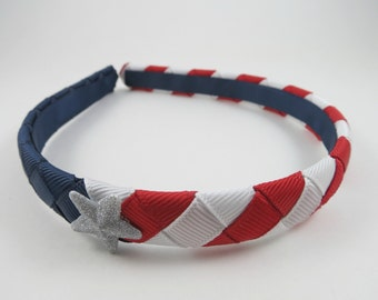 4th of July Headband - Red White and Blue Headband - Ribbon Woven Braided Headband - Patriotic Headband - Toddler Teen Adult Headband