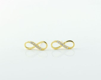 Gold Infinity Earrings, Infinity Stud Earrings, Infinity Studs, Infinity Posts Earrings, Infinite Love. Valentines Gift