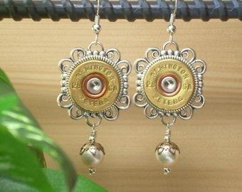 Shotgun Shell Jewelry ~ 28 Gauge Remington Peters ~ Pearl Earrings