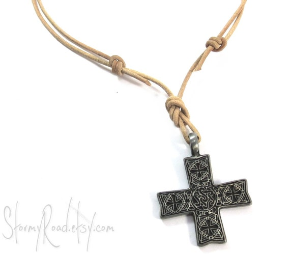 mens celtic cross necklace leather cord necklace with celtic
