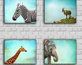 Friendly Faces- Safari art print set. Photography print of Animals. Blue teal background. Kids room, nursery decor.