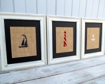 Nautical Decor / Nautical Nursery Wall Art / Set of Three Burlap Art Prints / Lighthouse / Sailboat / Anchor