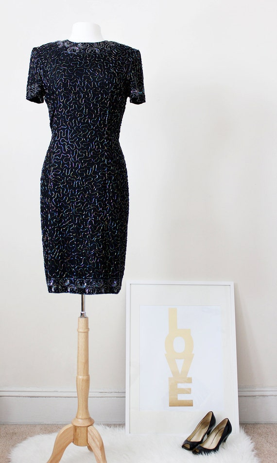 RESERVED for Pat - Vintage 1940's Style Beaded Dress - Vintage Retro Dress - Evening Dress - Party Dress - Size 8 to Size 10