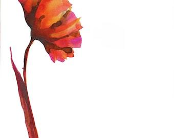 Original flower drawing on paper - Ink wash color watercolor modern art flower contemporany painting  flower pink orange purple red