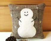 Little Snowman Balsam Pillow, Decorative Wool Pillow, Rustic Winter Pillow, 4 inch Maine Balsam Pillow