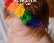 Rainbow Birthday Mini Shabby Flower Headband - Birthday, Photo Prop Newborn Infant Baby Child Girls Toddler Hair Bow - Primary Color Hairbow
