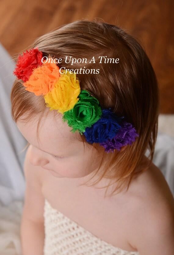 Rainbow Birthday Mini Shabby Flower Headband Birthday Photo