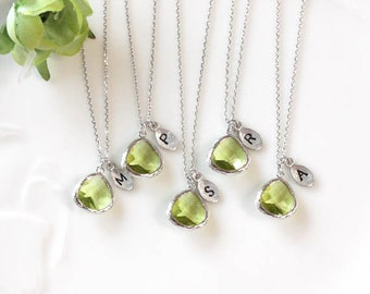 Bridesmaid gifts - Set of 5, 6, 7 -Leaf initial, Peridot crystal pendant necklace, Olive Green, stone in bezel, Initial necklace
