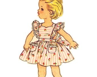 Simplicity 3379 Super Cute Vintage 60s Toddler Girl's Dress and Pinafore Sundress Sewing Pattern Size 3
