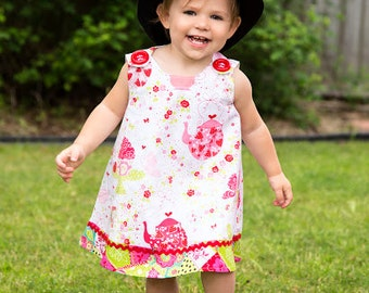 Tea Party Dress - Baby Girl Clothing - Todller Clothing - Patch Fabric Trim - KK Children Designs - 3M to  4T