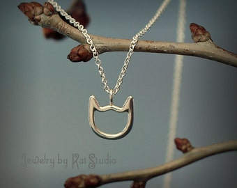 Cat necklace, Sterling Silver 925, pendant kitty, cat face, Jewelry by Katstudio