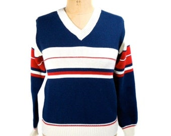 vintage 1970s striped sweater / Jump Ahead / red white blue / v-neck sweater / 70s sweater / women's vintage sweater / size medium