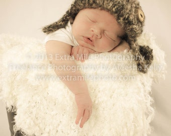Crochet baby Hat Aviator Photo Prop Infant  fur Brown hat with handmade wooden Button