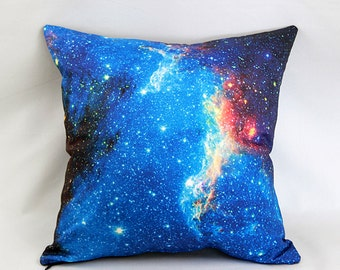 CLEARANCE: Blue Starfield Pillow Cover - NASA North American Nebula Galaxy Photo on Fabric; blue, red, white