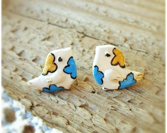 Bird Stud Earrings, Cute Studs, Hand painted, Kawaii earrings, Birds earrings, Hypoallergenic ear posts, Colored birds, Tiny birds