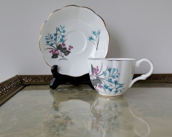 English Castle Tea Cup and Saucer /  Staffordshire Bone China  / English China