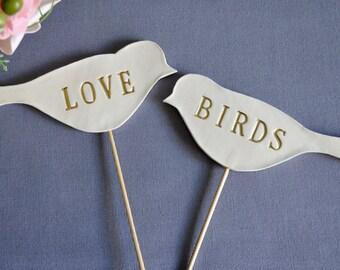 Gold Love Bird Wedding Cake Toppers