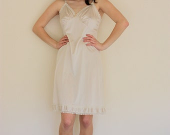 Vintage Cream Lace Full Slip With Off White Tassle