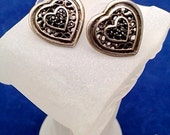 Pewter Heart  Earrings, with Marcasites,  'GIO stamped.    Pierced Earrings are in excellent condition and are quite lovely.