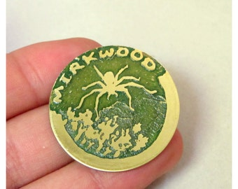 Hobbit metal pin brooch / coin. Mirkwood. Etched brass, fully hand made