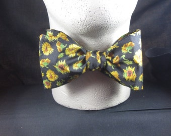 Mens Freestyle BOW TIE SILK Twill Sunflowers Floral on Black Self Tie Your Own BowTie