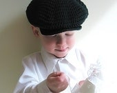 Dark Green Newsboy Cap, Boys Flat Cap Pageboy, Ring Bearer Spring Easter Photo Prop, 2T 3T 4T 5T, Forest Green Organic Cotton - LemonLaneOrganics