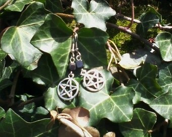 Silver Pentacle Hematite Dangle Earrings