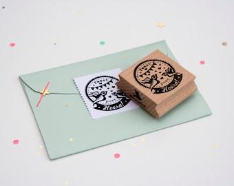 """Round Birthday stamp in Dutch """"Feest post Hoera"""""""