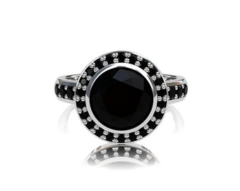 Black Spinel ring, black diamond, halo ring, engagement ring, black diamond engagement, spinel, black engagement, gothic, diamond halo, rose
