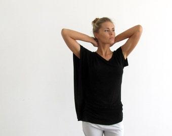 Summer day shirt, asymmetrical  Shirt, black summer Shirt, short sleeve t shirt, scoop neck, loose fit yoga top, sport shirt, black t shirt