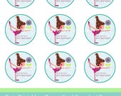 """Cupcake toppers Yoga Party PDF,personalized cupcakes' toppers, printable 2"""" x 2"""""""