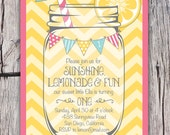 Sunshine Lemonade & Fun - First Birthday Invitation - ANY Colors and Text - Chevron Mason Jar Bunting - Printable - Bridal Baby Shower