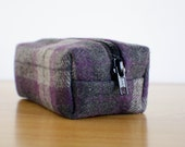 Small Morgan Makeup Pouch - Dark Purple, Gray Plaid Wool
