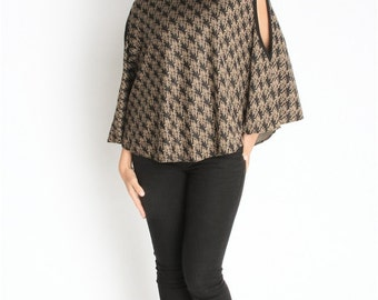 Womens Poncho - Womens Jacket Cowl Neck Poncho Houndstooth One Size