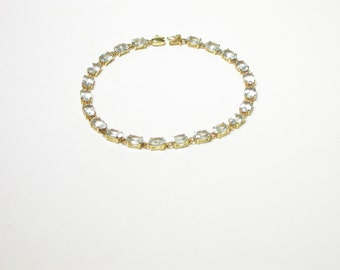 14k Yellow Gold Aquamarine Tennis Bracelet - Weigh 5.6 Grams - March Birthstone - 7 Inches Long # 1289