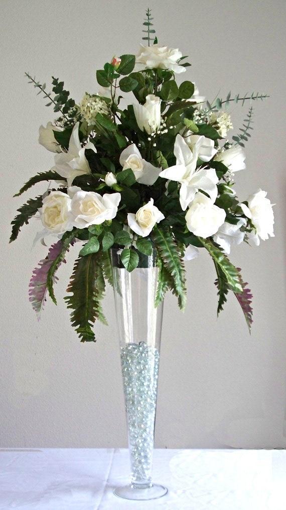 elegant wedding reception table silk flower by artsandcreations. Black Bedroom Furniture Sets. Home Design Ideas