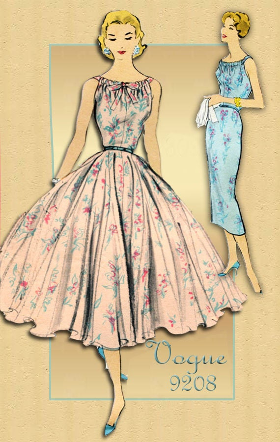 1950s Dress Pattern Vogue 9208 Dressy Cocktail Evening Dress
