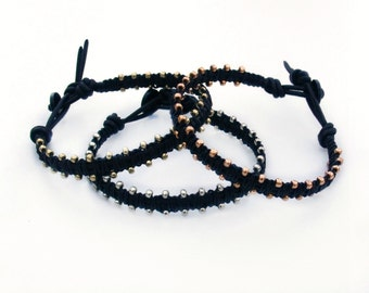 Dainty Irish Linen Leather Black Wrap Friendship Bracelet Gold Silver Rose Gold Boho Arm Party