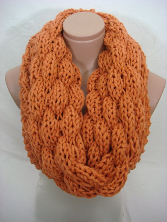 Items similar to Knitted Double Pattern Hooded Cowl/Scarf/Neck Warmer (Dark O...